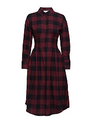Crime flannel dress Buffalo check - DK RED