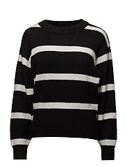 Burn knit Wide stripe - BLACK