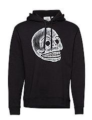 Pullover hood Pencil skull - BLACK