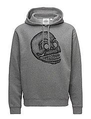 Pullover hood Pencil skull - GREY MELANGE