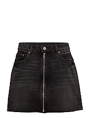 Zip short skirt - Black smoke