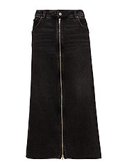Zip long skirt - Black smoke