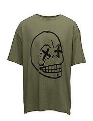 Squad tee Faint skull - BLEACHED OLIVE