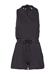 Smile wash  playsuit - BLACK