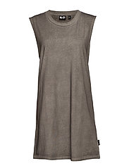 Media dirt tank dress - OFF BLACK