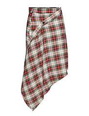 Wrap skirt relax check - PUNK RED
