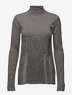 Scrap stripe knit - turtlenecks - black/dirty white