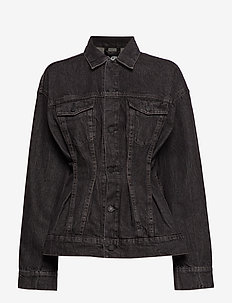 Jinx Jacket Black Crinkle - denim jackets - black