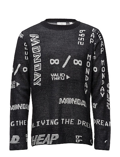 Neglect knit Many logos - BLACK