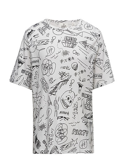 Spacious tee Scribble cheap - WHITE