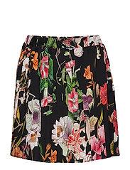 Skirt No. 206 - BLACK MULTI FLOWER