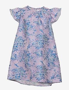Dress No. 101 - GREY/BLUE GLITTER MULTI FLOWER