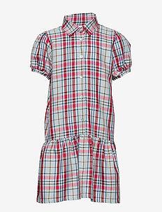 Dress No. 120 - CHECKED LIGHT BLUE/RED