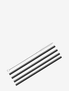 Straws VETRO NERO 4 pcs. w/cleaning brush - drink & barutstyr - black