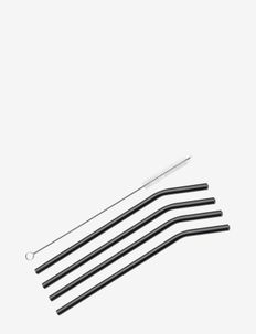 Straws VETRO NERO curved 4 pcs. w/cleaning brush - under 300 kr - black