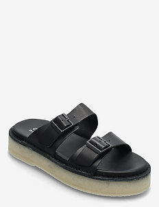 Desert Sndl - platta sandaler - black leather