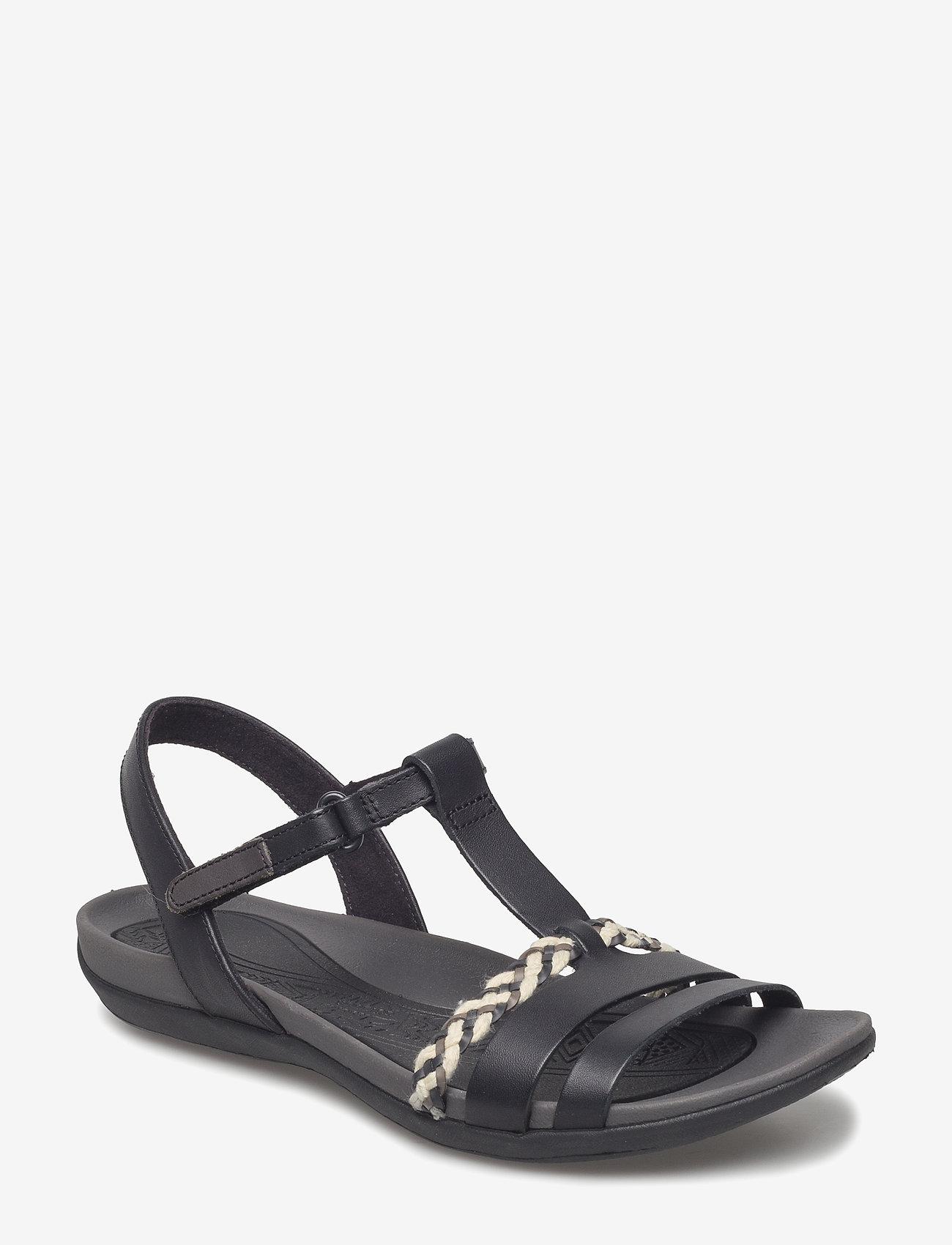 Clarks - Tealite Grace - platta sandaler - black leather - 0