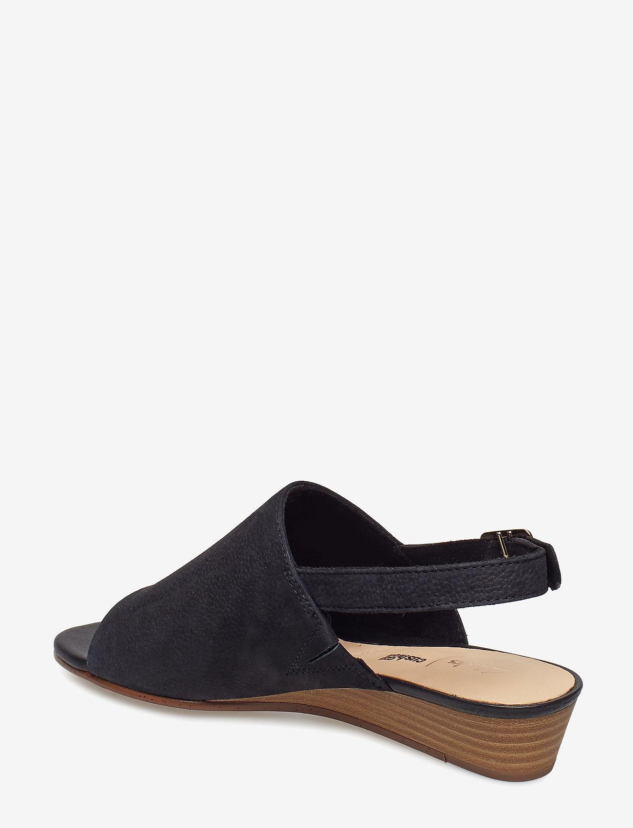 Clarks - Mena Lily - platta sandaler - black nubuck - 1