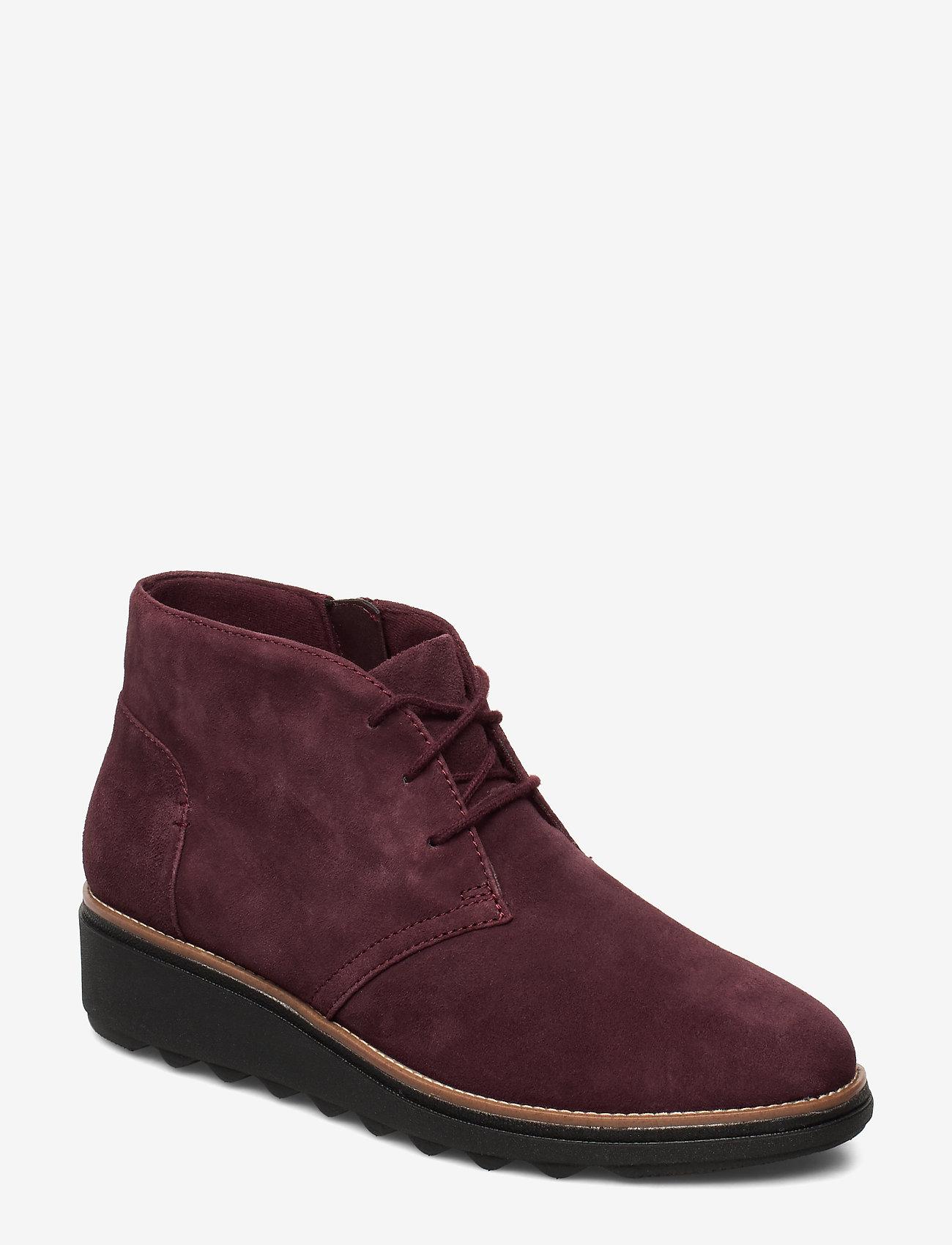 Clarks - Sharon Hop - flade ankelstøvler - burgundy - 0
