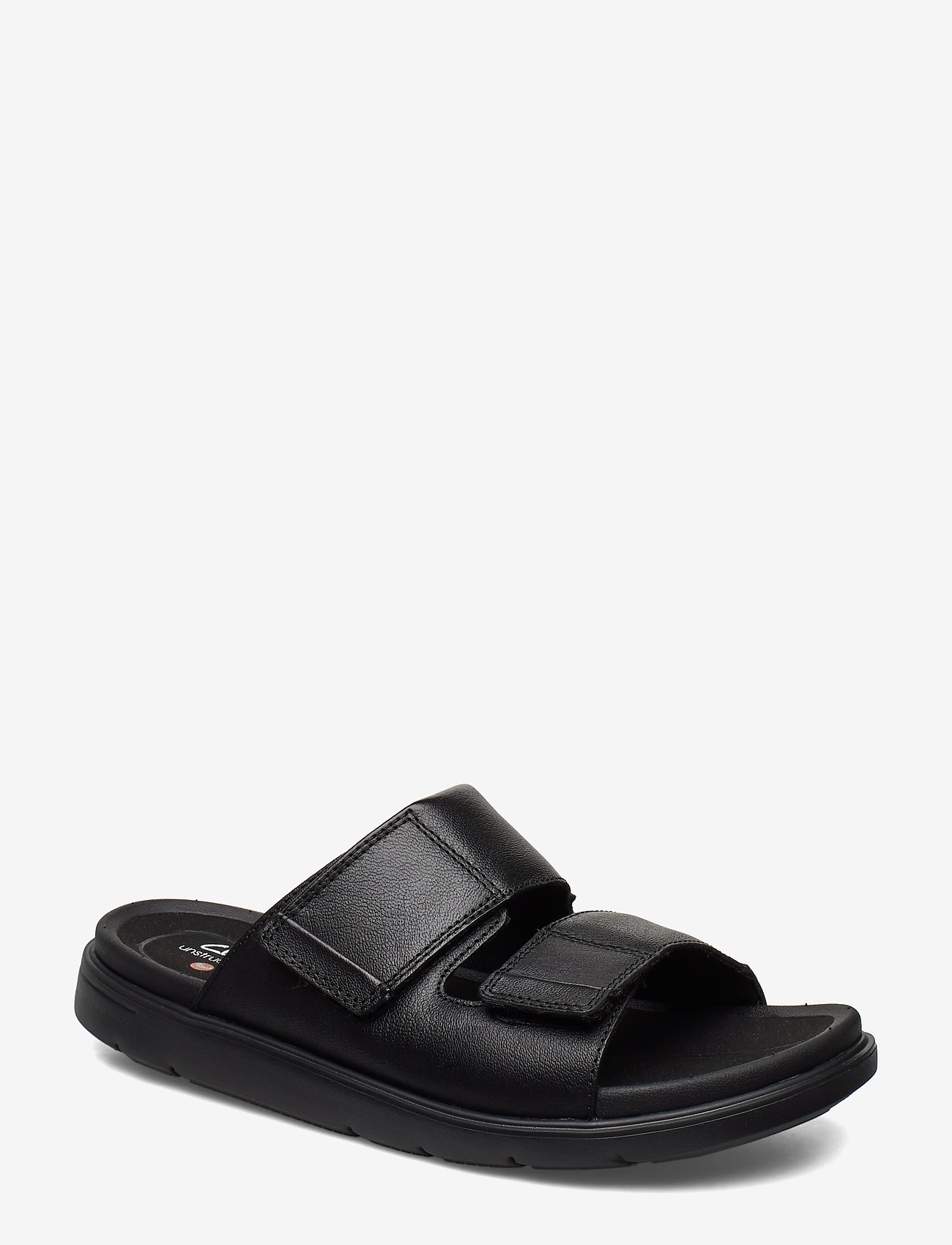 Clarks - UnWilmore Part - pool sliders - black leather - 0