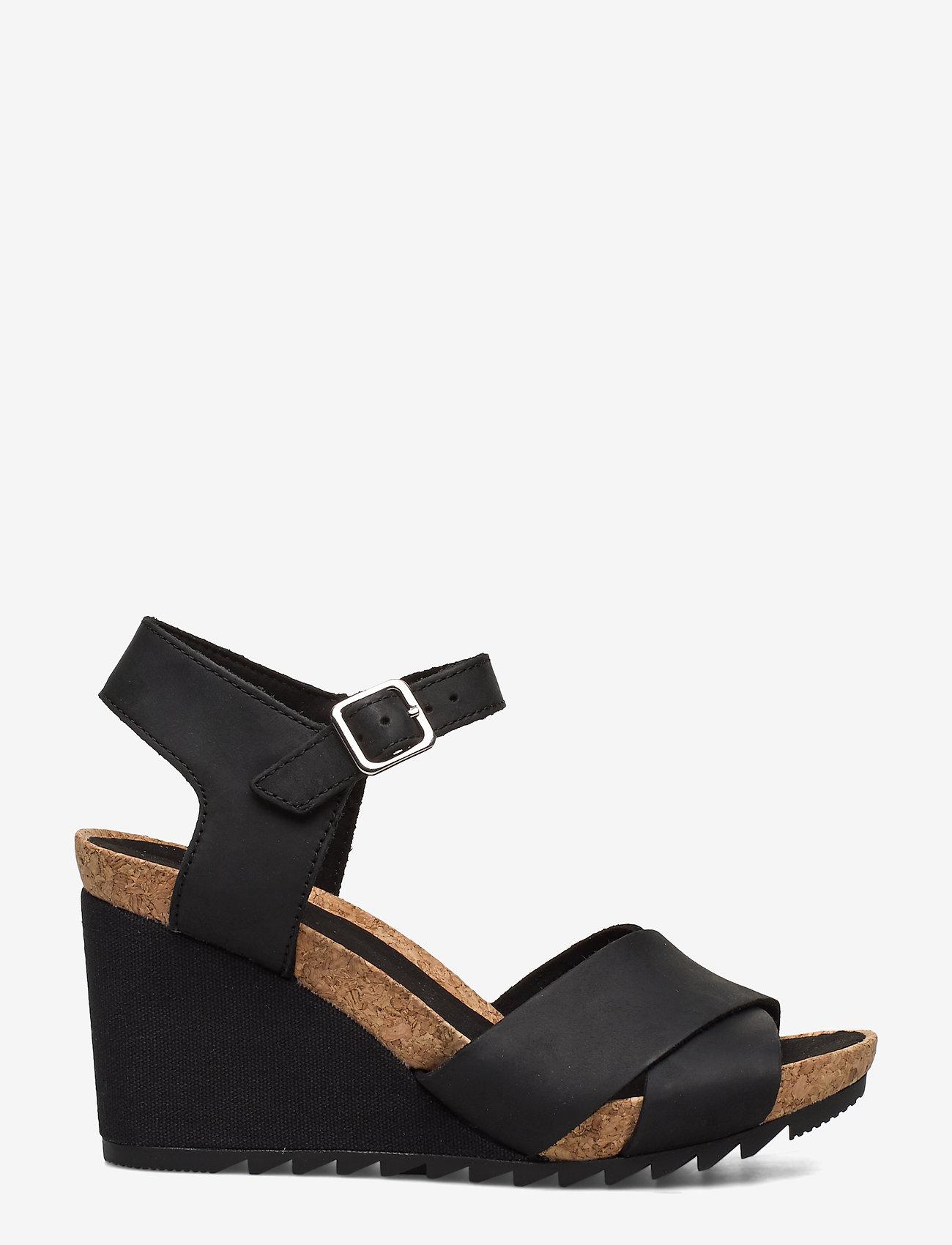 Clarks - Flex Sun - högklackade sandaler - black leather - 1