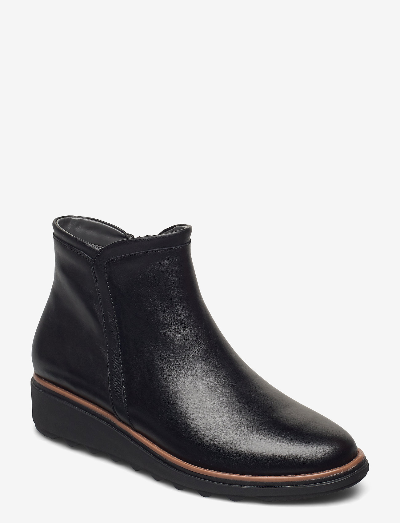 Clarks - Sharon Heights - platte enkellaarsjes - black leather - 0