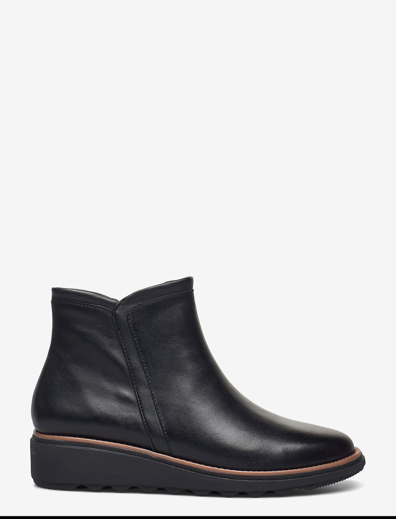 Clarks - Sharon Heights - platte enkellaarsjes - black leather - 1