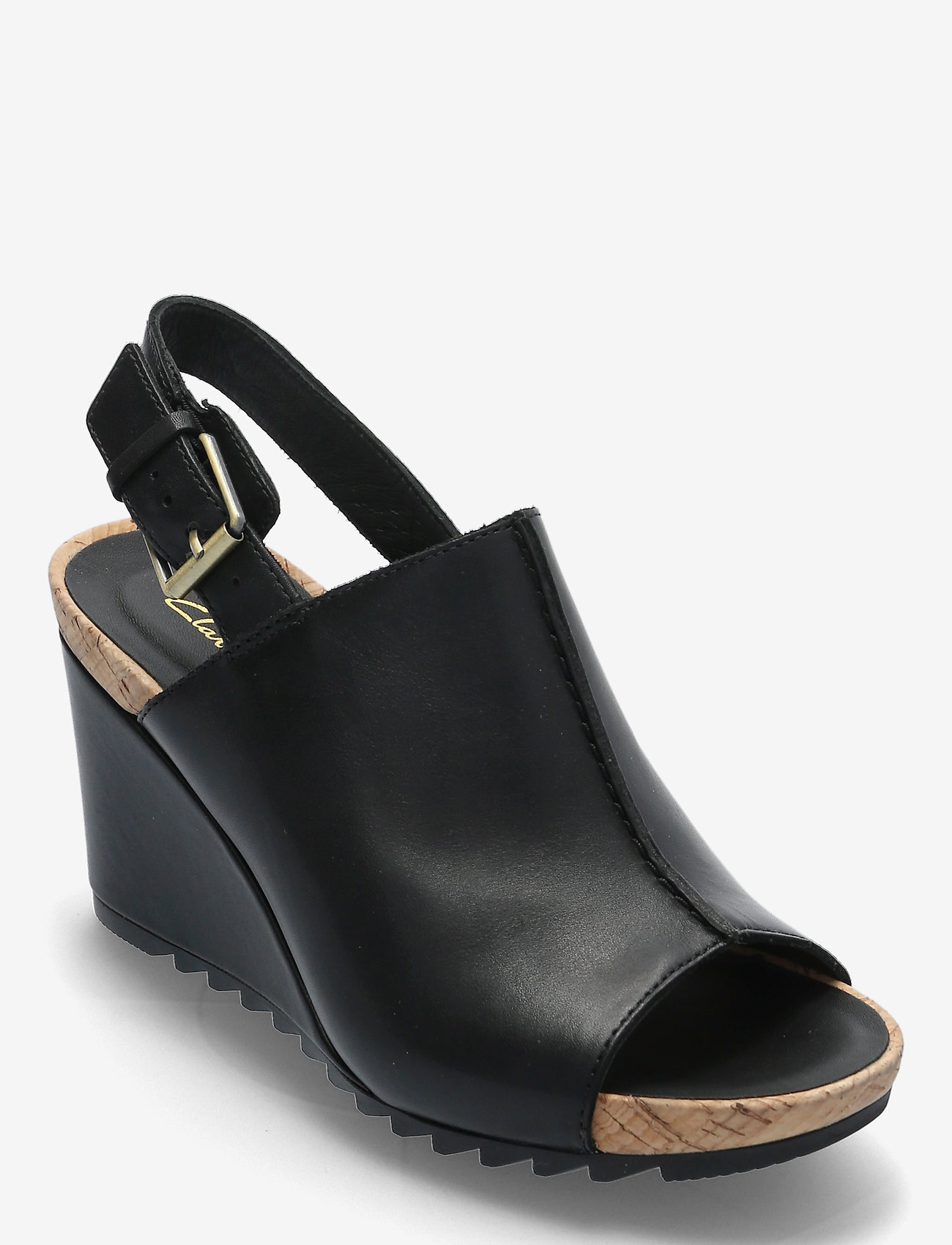 Clarks - Flex Stitch - högklackade sandaler - black leather - 0