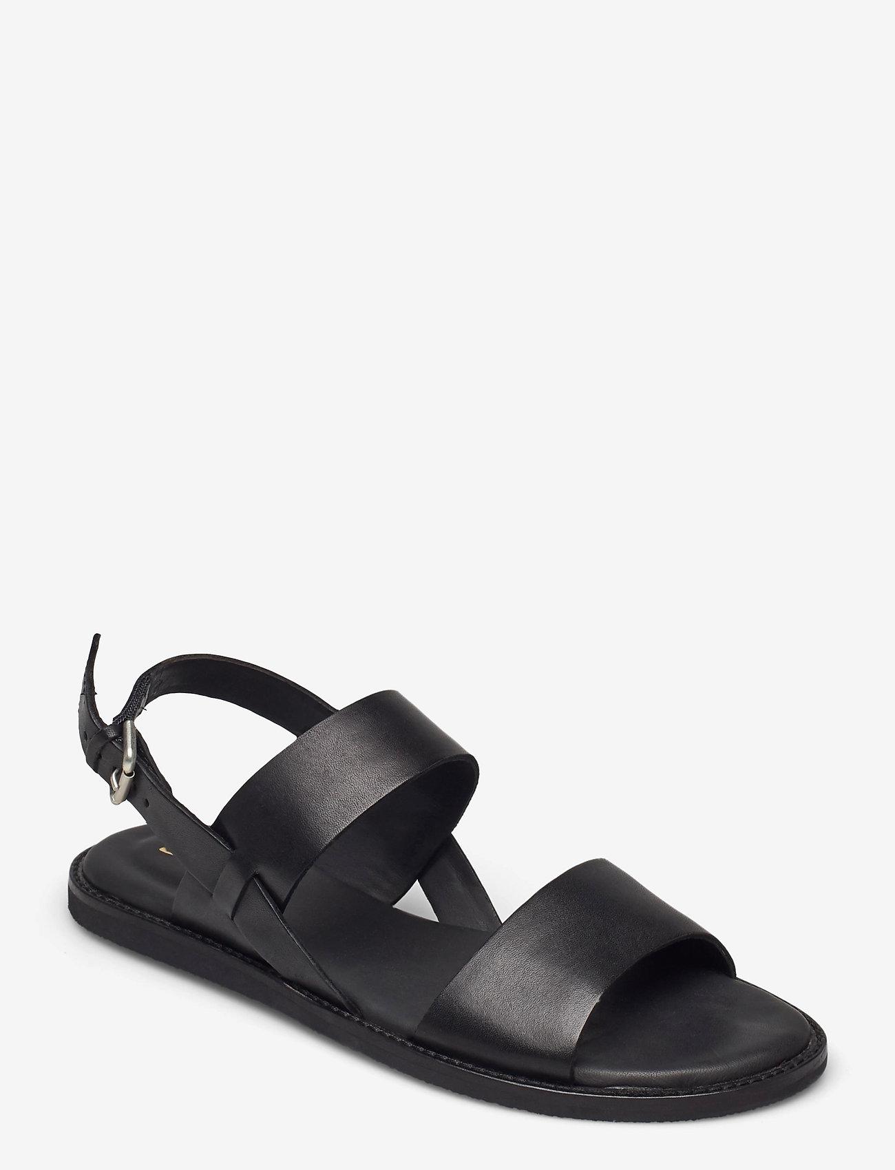 Clarks - Karsea Strap - platta sandaler - black leather - 0