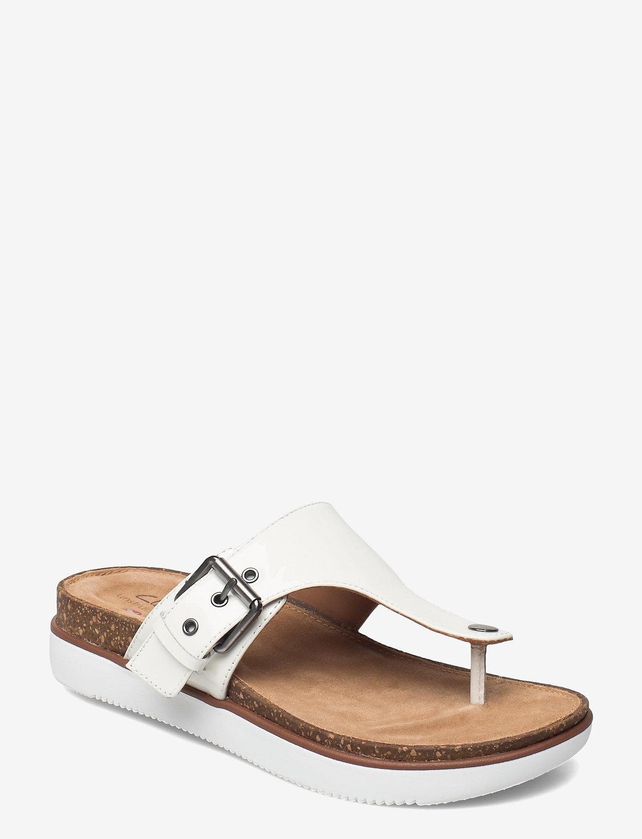 Clarks - Elayne Step - platta sandaler - white patent - 1
