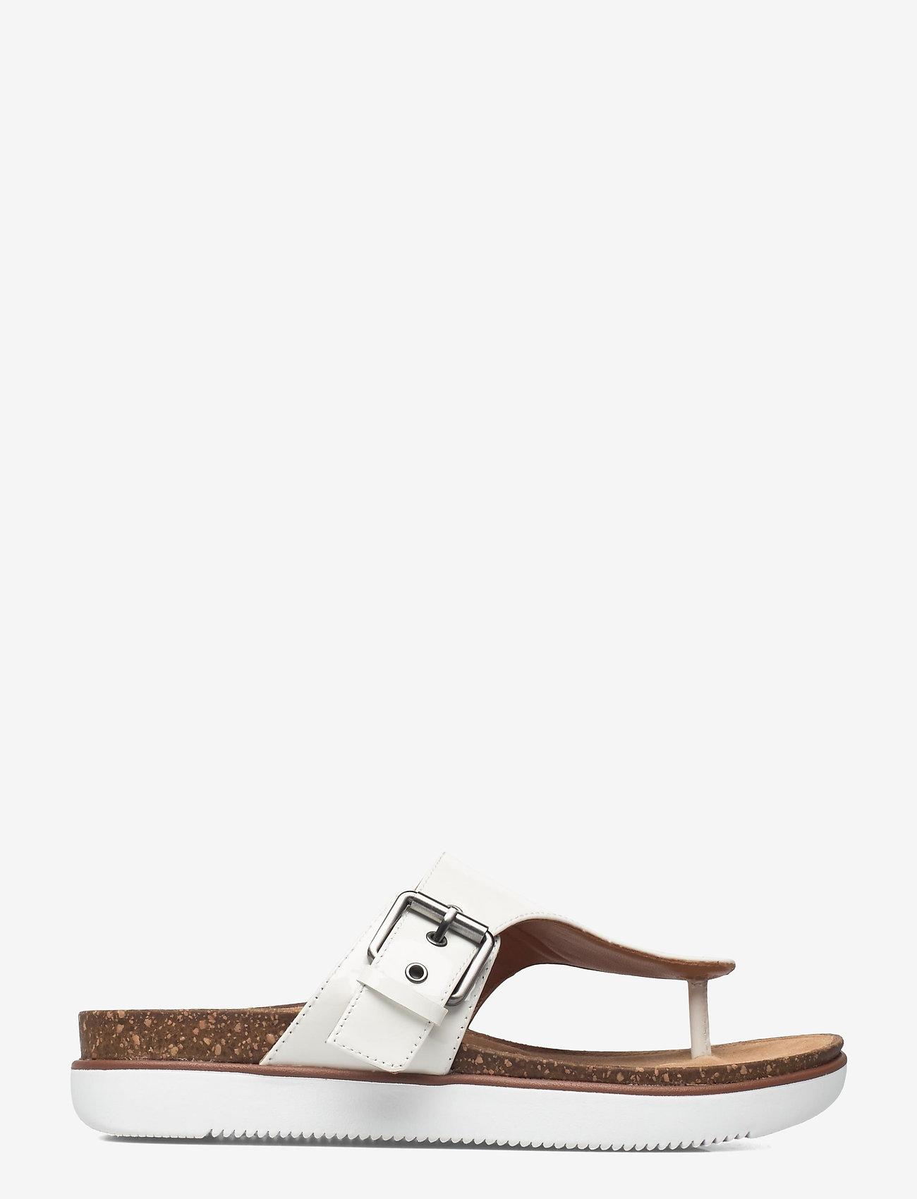 Clarks - Elayne Step - platta sandaler - white patent - 0