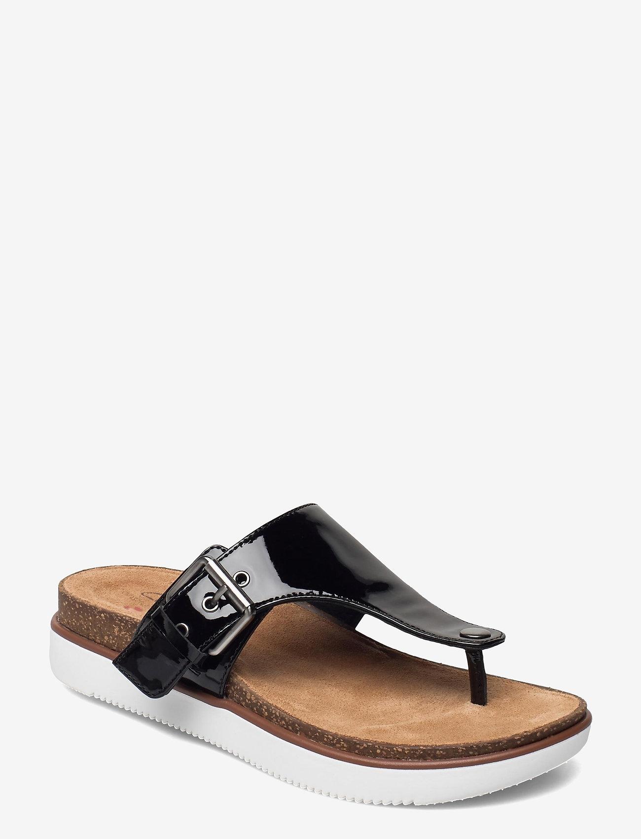Clarks - Elayne Step - platta sandaler - black pat lea - 0