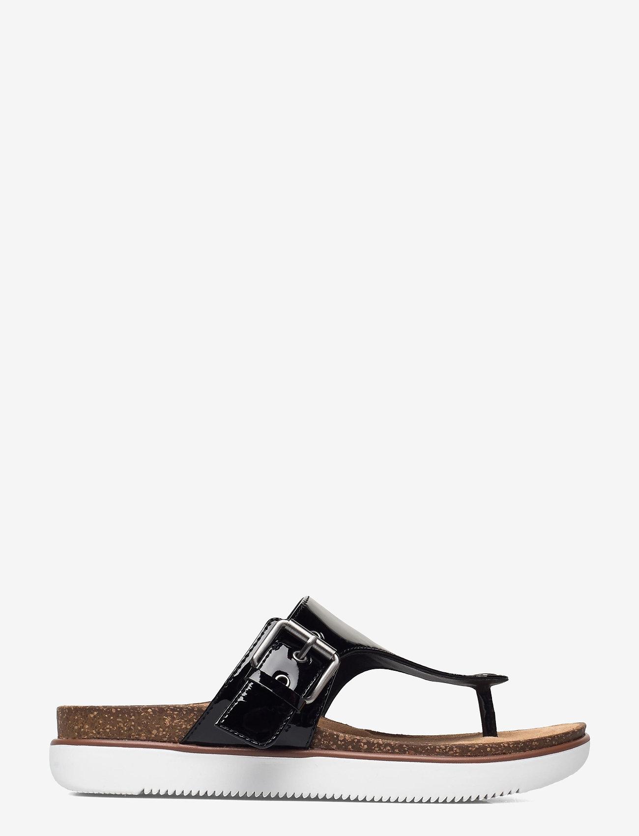 Clarks - Elayne Step - platta sandaler - black pat lea - 1