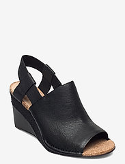 Clarks - Spiced Bay - espadrilles met sleehak - black leather - 0