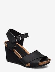Clarks - Flex Sun - högklackade sandaler - black leather - 0