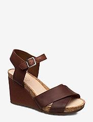 Clarks - Flex Sun - högklackade sandaler - tan leather - 0