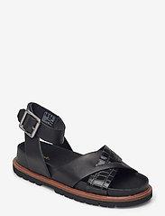 Clarks - Orianna Cross - platta sandaler - black combi lea - 0