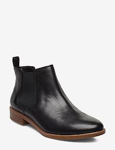 Taylor Shine - flade ankelstøvler - black leather