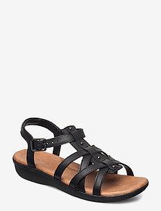 Manilla Bonita - platte sandalen - black leather