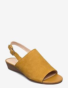 Mena Lily - platta sandaler - ochre nubuck