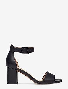 Deva Mae - högklackade sandaler - black leather