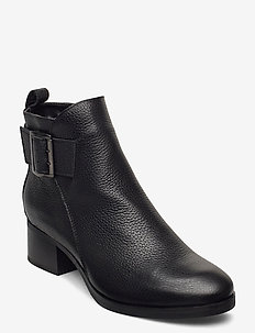 Mila Charm - ankelboots med klack - black leather
