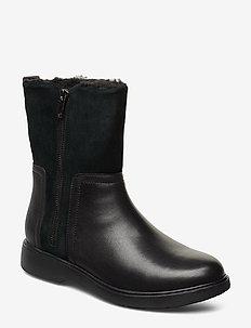 Un Elda Mid - flade ankelstøvler - black combi