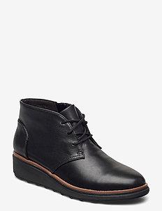 Sharon Hop - flade ankelstøvler - black leather
