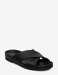 Pure Cross - flade sandaler - black leather