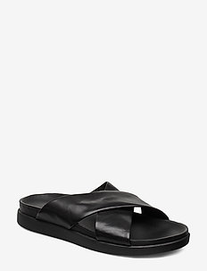 Sunder Cross - platta sandaler - black leather