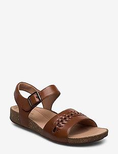 Un Perri Way - flade sandaler - dark tan lea