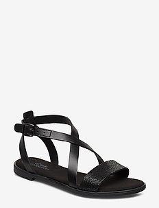 Bay Rosie - flade sandaler - black leather