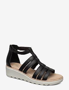 Jillian Nina - flade sandaler - black leather