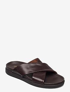 Sunder Cross - sandaler - dark brown lea